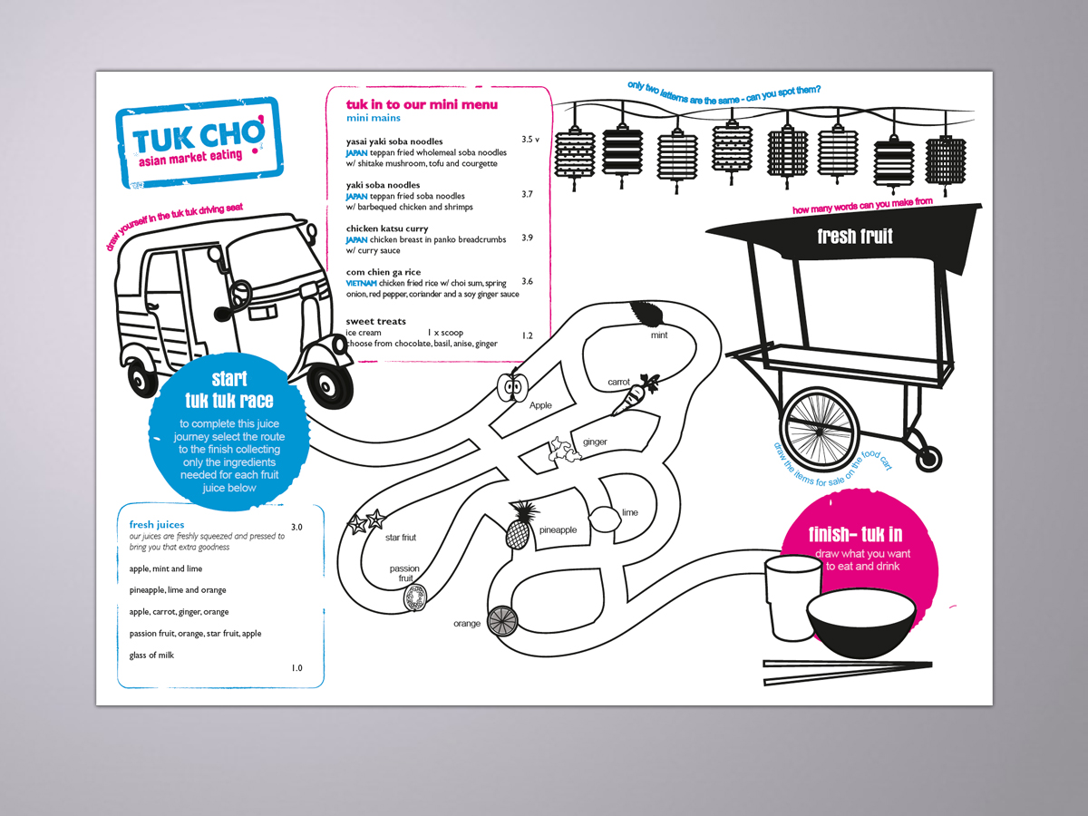tuk cho, ealing kids menu design